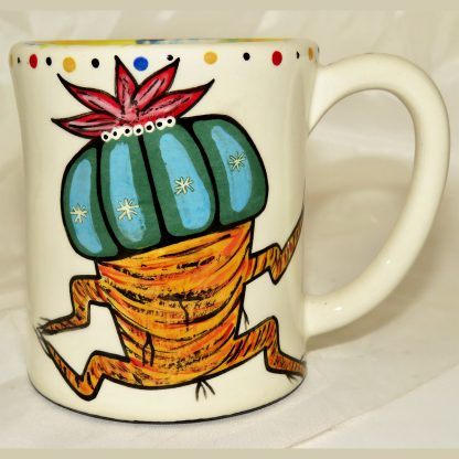 Mana Pottery E-Mug featuring Dancing Peyote and desert landscape on reverse sides.