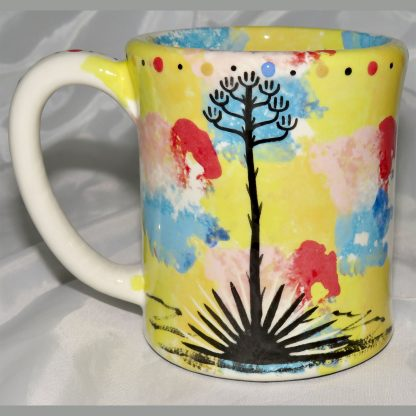 Mana Pottery E Mug featuring Dancing Peyote and desert landscape on reverse sides.