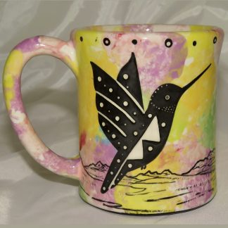 Mana Pottery e-mug featuring hummingbird and desert landscape on reverse sides, on lilac background.