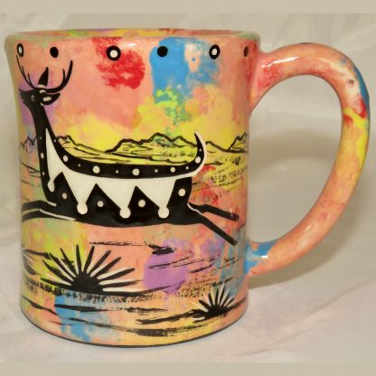 Mana Pottery e-mug featuring leaping deer and desert landscape on reverse sides, on coral background.