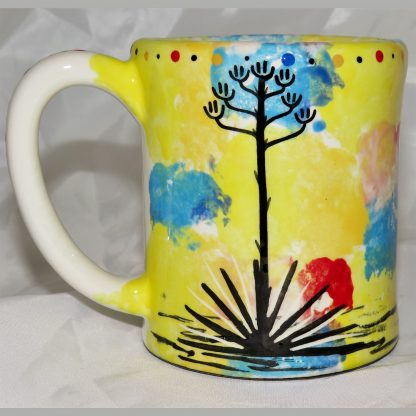Mana Pottery e-mug featuring Peyote root on one side and desert landscape on reverse.