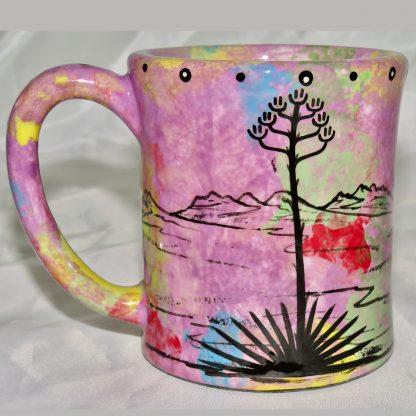 Mana Pottery e-mug featuring puma lion and desert landscape on reverse sides, on lilac background.