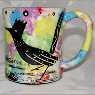 Mana Pottery e-mug featuring roadrunner and desert landscape on reverse sides, on confetti background.