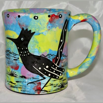 Mana Pottery e-mug featuring roadrunner and desert landscape on reverse sides, on turquoise blue background.