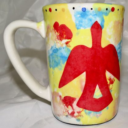 Mana Pottery Large Mug featuring Dancing Peyote design and desert and Firebird on reverse sides.