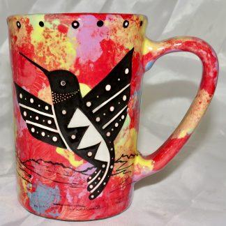 Mana Pottery Large Mug featuring hummingbird and desert landscape on reverse sides