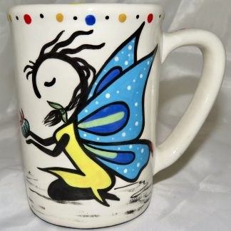 Mana Pottery Large Mug featuring Peyote Guardian Spirit and desert vegetation on reverse sides.