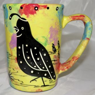 Mana Pottery Large Mug featuring quail and desert landscape on reverse sides