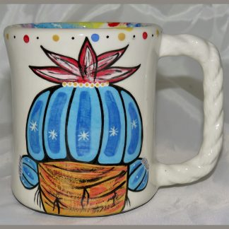 Mana Pottery Rope Mug featuring blue peyote buds on one side and desert vegetation on reverse.
