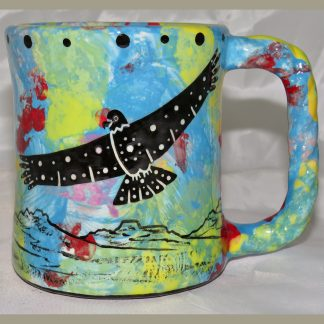 Mana Pottery Rope Mug featuring hawk in flight on one side and desert vegetation on reverse.