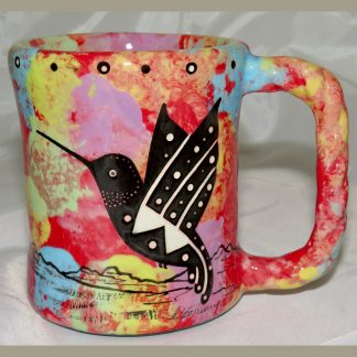 Mana Pottery Rope Mug featuring hummingbird on one side and desert vegetation on reverse.