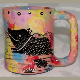 Mana Pottery Rope Mug featuring javelina on one side and desert vegetation on reverse.