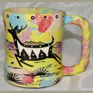 Mana Pottery Rope Mug featuring jumping deer on one side and desert vegetation on reverse.
