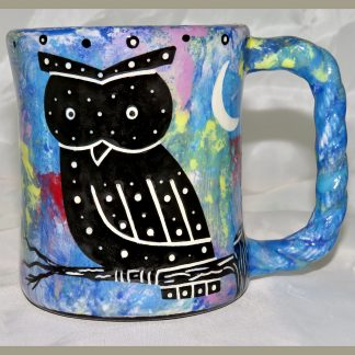 Mana Pottery Rope Mug featuring owl on one side and desert vegetation on reverse.