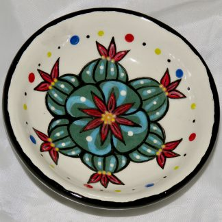 Mana Pottery tea bag holder featuring Peyote buttons in bloom