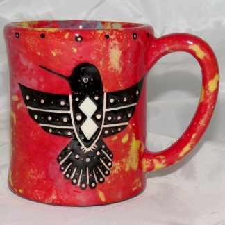 Mana Pottery e-mug featuring hummingbird and desert landscape on reverse sides, on crimson background.