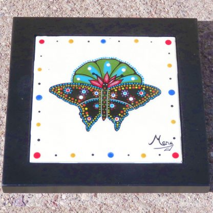framed 6 inch clay tile featuring butterfly on Peyote button