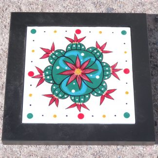 Mana Pottery framed 6 inch clay tile featuring Peyote cluster