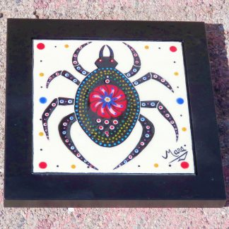 Mana Pottery framed 6 inch clay tile featuring Weaver of Life spider