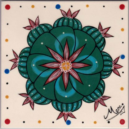 Mana Pottery tile with Peyote button in bloom