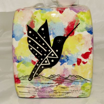 Mana Pottery tissue box holder, side 1 holder with hummingbird on confetti, side 1