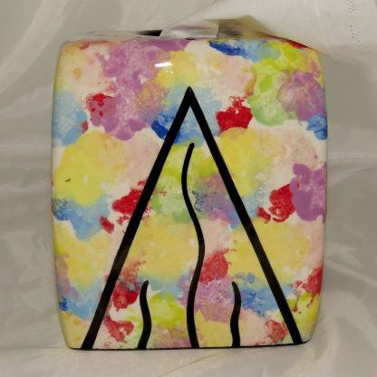 Mana Pottery tissue box holder, side 1 holder with hummingbird on confetti, side 2