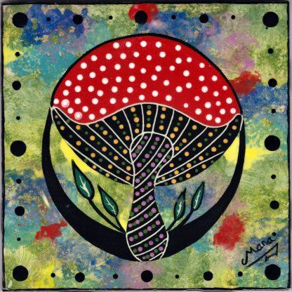 Mana Pottery Amanita mushroom design on 6 inch clay tile