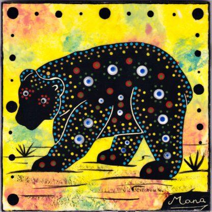 Mana Pottery bear design on 6 inch clay tile