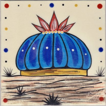 """Mana Pottery 6"""" clay tile featuring blue Peyote button showing root"""