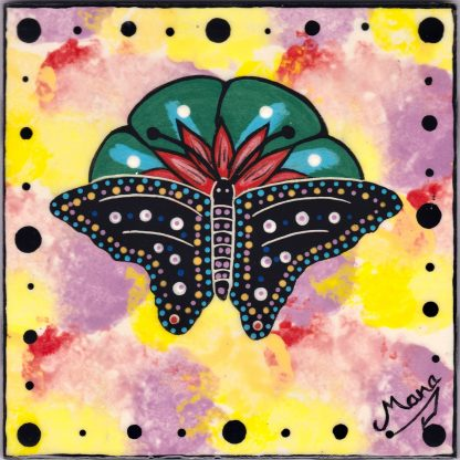 Mana Pottery butterfly and peyote design on 6 inch clay tile
