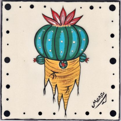"""Mana Pottery 6"""" clay tile featuring green Peyote button and root"""