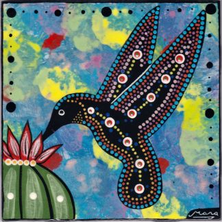 Mana Pottery hummingbird design on 6 inch clay tile on blue background