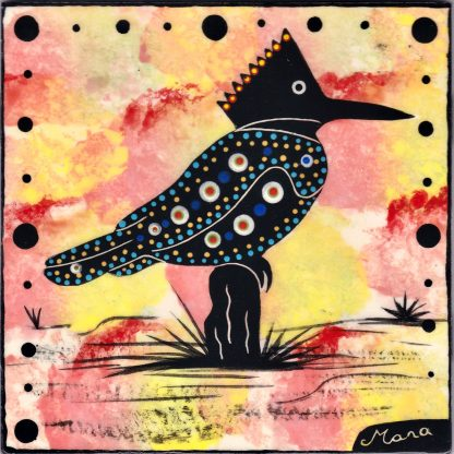 Mana Pottery kingfisher design on 6 inch clay tile on yellow