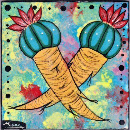 """Mana Pottery 6"""" clay tile featuring Peyote Duo"""