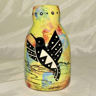 Mana Pottery bottle vase featuring hummingbird with desert landscape on reverse.