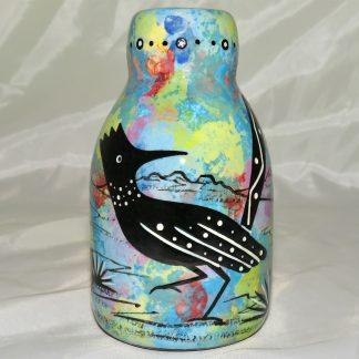Mana Pottery bottle vase featuring roadrunner with desert landscape on reverse.