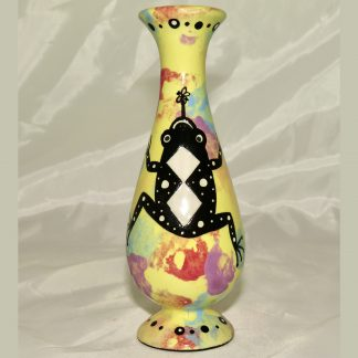 Mana Pottery bud vase featuring frog with schematic design on reverse, on bright yellow background.