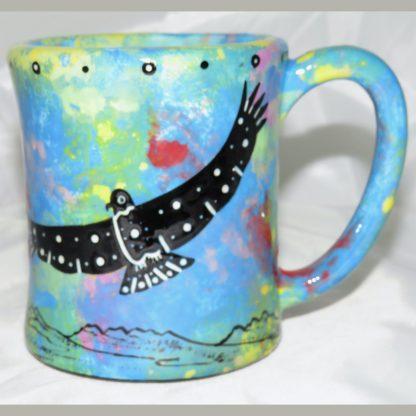 Mana Pottery e-mug featuring hawk in flight with desert landscape on reverse.