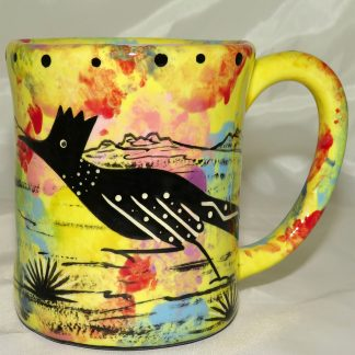 Mana Pottery e-mug featuring roadrunner and desert landscape on reverse.
