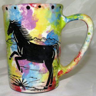 Mana Pottery large mug featuring horse and desert landscape on reverse.