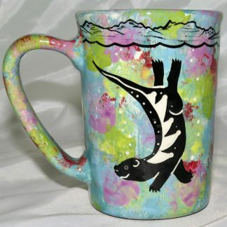 Mana Pottery large mug featuring sea otter and underwater-scape on reverse.