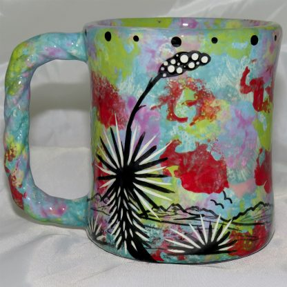 Mana Pottery rope mug featuring hawk in flight with desert landscape on reverse.