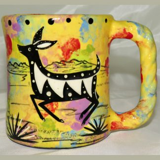 Mana Pottery rope mug featuring deer and desert landscape on reverse.