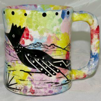 Mana Pottery rope mug featuring roadrunner with desert landscape on reverse.