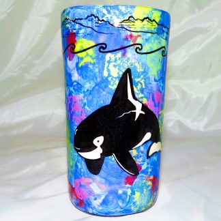 Mana Pottery tumbler featuring orca with underwater-scape on reverse.