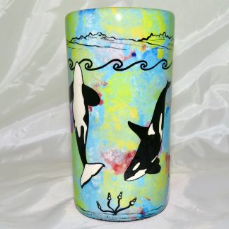 Mana Pottery tumbler featuring orca duo with underwater-scape on reverse.