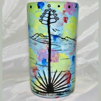 Mana Pottery tumbler featuring jackrabbit with desert landscape on reverse.