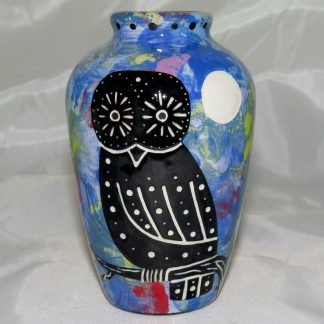 """Mana Pottery 5"""" urn featuring owl and moon with desert landscape on reverse."""