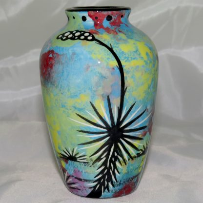 """Mana Pottery 5"""" urn featuring toad with desert landscape on reverse."""