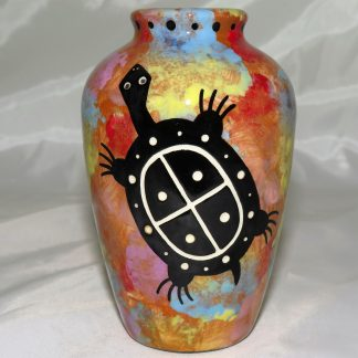 """Mana Pottery 5"""" urn featuring turtle with desert landscape on reverse."""
